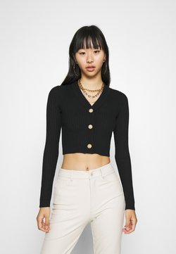 Missguided - CROPPED BUTTON - Gilet - black