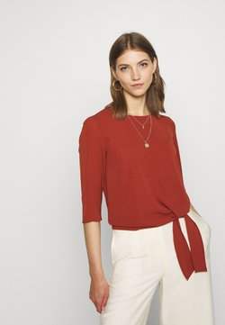 ONLY - ONLNOVA LUX KNOT SOLID - Blusa - brown