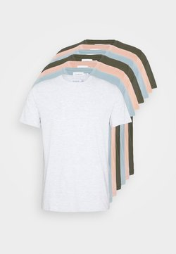 Topman - 7 PACK - T-shirts - mottled grey/khaki/blue