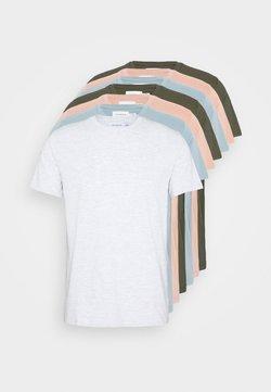 Topman - 7 PACK - Basic T-shirt - mottled grey/khaki/blue