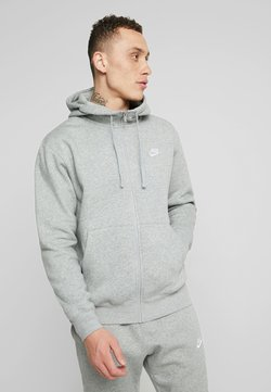 Nike Sportswear - CLUB HOODIE - Huvtröja med dragkedja - dark grey heather/matte silver/white