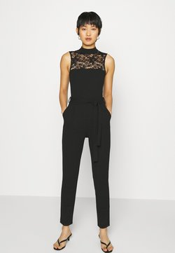 Anna Field - OCCASION - SLEEVELESS BELTED LACE NECKLINE JUMPSUIT - Combinaison - black