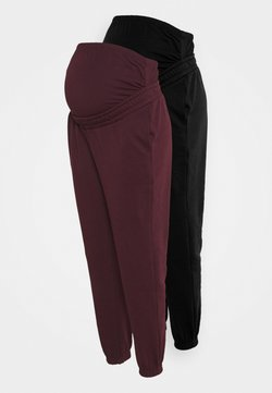 Anna Field MAMA - 2 PACK - LOOSE FIT JOGGERS - OVERBUMP - Jogginghose - black/bordeaux