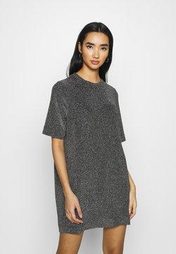 Monki - IZZY DRESS - Korte jurk - black/silver