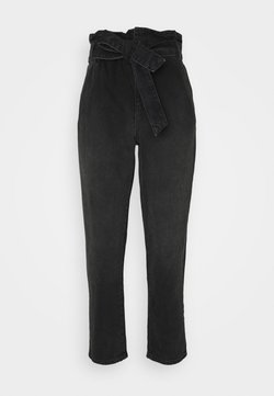 ONLY - ONLJANE PAPERBAG BELT - Jeans Relaxed Fit - black denim