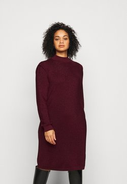 Vero Moda Curve - VMALYSSA HIGHNECK DRESS - Strickkleid - cabernet