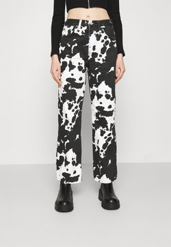 Topshop - COW PRINT RUNWAY - Jeans Relaxed Fit - black/white