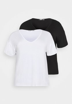 Missguided Plus - V NECK 2 PACK - Camiseta básica - white/black