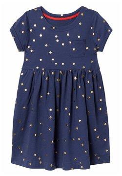 Boden - Jerseykleid - segelblau, goldene tupfen