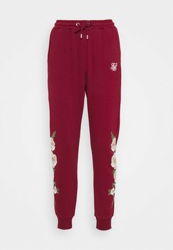 SIKSILK - FLORAL EMBROIDERED JOGGERS - Jogginghose - burgundy