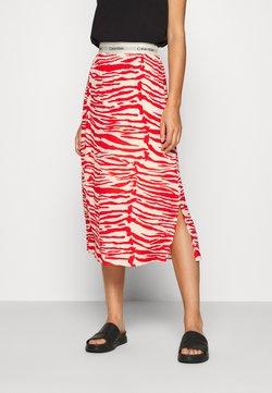 Calvin Klein - ZEBRA PRINT LOGO SKIRT - A-Linien-Rock - red