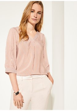 comma - MIT MUSTER - Bluse - cognac pinstripes