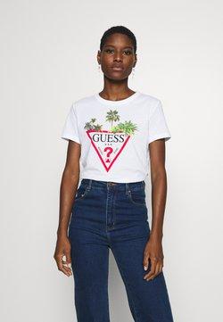 Guess - PALMS TRIANGLE - T-shirt z nadrukiem - blanc pur