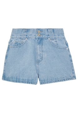 Missguided - RIOT HIGHWAISTED DOUBLE BUTTON MOM - Jeansshort - light wash