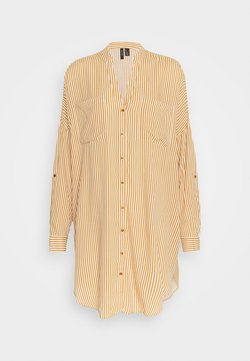 Vero Moda - VMBECKY FOLD UP - Skjortekjole - buckthorn brown/bumby snow shite