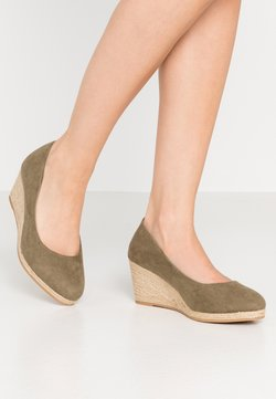 Evans - WIDE FIT CLOSED TOE WEDGE - Sleehakken - khaki