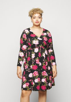 Dorothy Perkins Curve - WRAP FLORAL PRINT DRESS - Jerseykleid - multi
