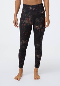 OYSHO - COMPRESSION  WITH WINTER FLORAL PRINT  - Tights - black