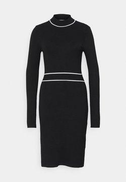 Anna Field - CONTRAST PIPING CINTURED MINI DRESS - Sukienka dzianinowa - black / white