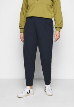 Simply Be - SOFT TAPERED TROUSER WITH STATEMENT ZIP CUFF - Pantalones - navy