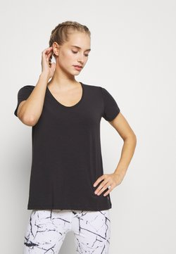 GAP - BREATHE NECK TEE - T-Shirt basic - true black