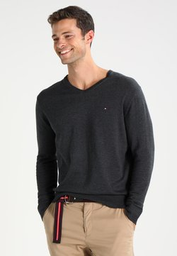 Tommy Hilfiger - V-NECK  - Strickpullover - charcoal heather