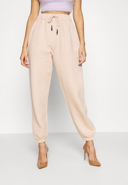 Missguided - QUILTED OVERSIZED JOGGERS - Jogginghose - stone