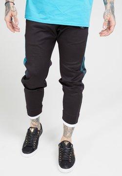 SIKSILK - FITTED TAPE TRACK PANTS - Jogginghose - black/teal