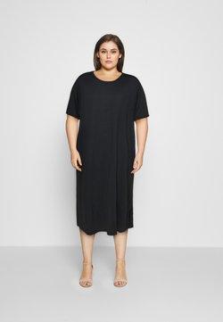 NU-IN - SHORT SLEEVE SIDE SPLIT MIDI DRESS - Jersey dress - black