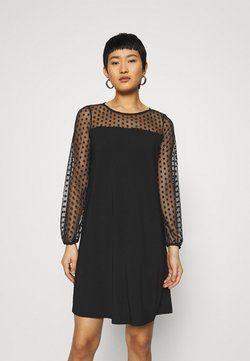 Dorothy Perkins - BILLIE LABEL SPOT YOKE SHIFT DRESS - Jersey dress - black