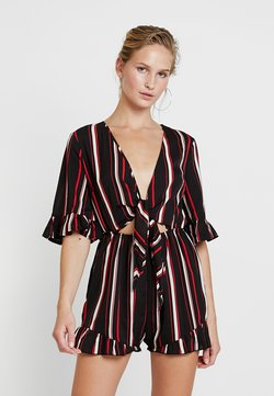 Missguided - STRIPE TIE FRONT KIMONO SLEEVE PLAYSUIT - Combinaison - black