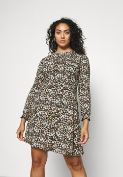 Dorothy Perkins Curve - FLORAL PUFF SLEEVE FIT & FLARE DRESS - Jerseykleid - multi