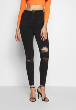 Missguided Tall - SINNER HIGHWAISTED AUTHENTIC RIPPED SKINNY - Jeans Skinny Fit - black