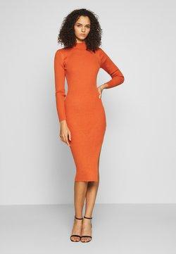 Missguided Tall - FUNNEL NECK SIDE SPLIT MIDI DRESS - Gebreide jurk - orange