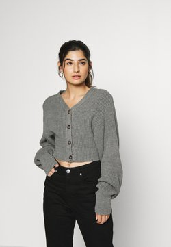 Glamorous Petite - CROPPED WITH LOW V NECK AND PUFF LONG SLEEVES - Vest - light grey marl