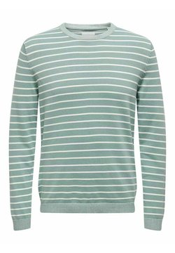Only & Sons - ONSALEX STRIPED CREW NECK - Strickpullover - silver blue
