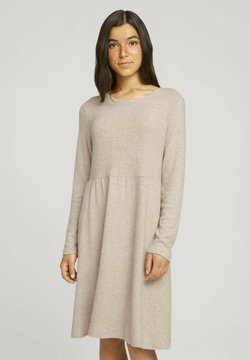 TOM TAILOR DENIM - COZY MINIDRESS - Gebreide jurk - creme beige melange