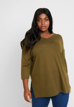 New Look Curves - BELLA V NECK - Neule - khaki