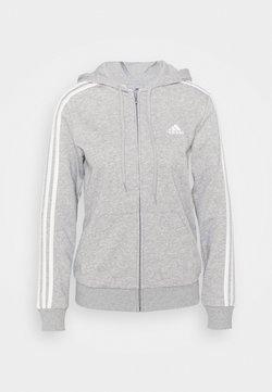 adidas Performance - Felpa con zip - medium grey heather/white