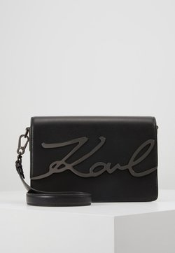 KARL LAGERFELD - SIGNATURE SHOULDERBAG - Torba na ramię - black/gun metal