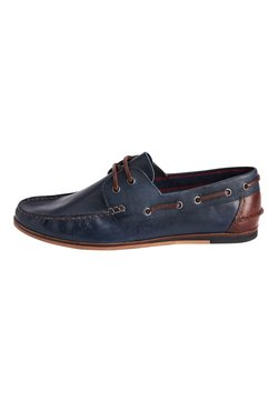 Next - NAVY FORMAL TEXTURED LEATHER BOAT SHOES - Purjehduskengät - blue
