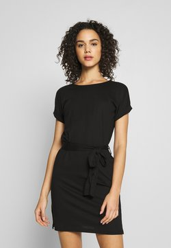 Even&Odd - BASIC - Short sleeves mini belted dress - Jerseyjurk - black/black