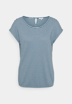 TOM TAILOR - STRUCTURE STRIPE - T-Shirt print - blue/navy/popcorn