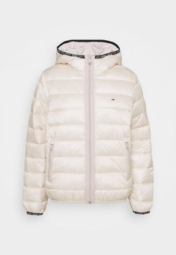 Tommy Jeans - QUILTED TAPE HOODED JACKET - Winterjacke - smooth stone