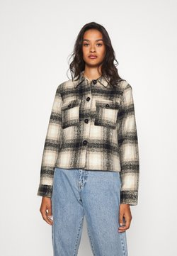 ONLY - ONLLOU SHORT CHECK JACKET - Leichte Jacke - pumice stone/black