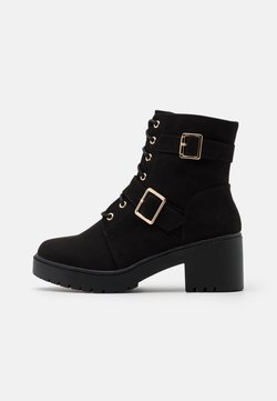 Dorothy Perkins Wide Fit - WIDE FIT MARLEY BUCKLE CLEAT - Lace-up ankle boots - black