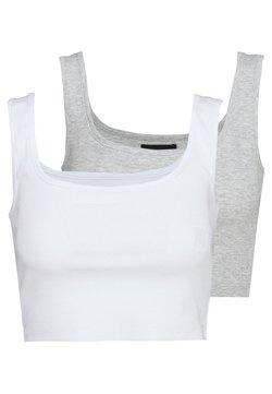 Even&Odd - SQUARE NECK CROP 2 PACK - Débardeur - white/light grey