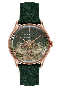 August Berg - UHR MORRIS & CO ROSE GOLD GREEN PERLON 30MM - Montre - fennel