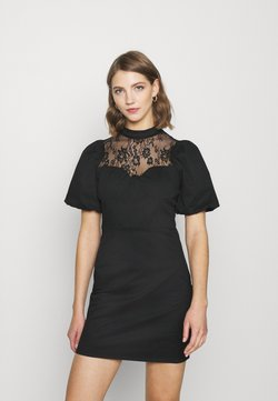 Glamorous - INSERT MINI DRESS WITH PUFF SHORT SLEEVES AND HIGH NECK - Cocktail dress / Party dress - black