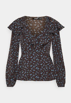 Missguided Petite - FLORAL FRILL DETAIL PEPLUM BLOUSE - Bluse - black